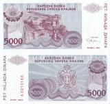 1993, 5.000 dinara (P-R20a) - Republica Sârbă Krajina (Croația) - stare UNC!