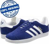 Pantofi sport Adidas Originals Gazelle pentru barbati - adidasi originali piele, 43 1/3, 44 2/3, 45 1/3, Albastru, Piele intoarsa