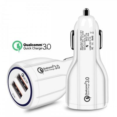 Adaptor incarcator masina bricheta cu 2 porturi USB Quick Charge 3.0 35W 6A foto