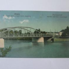Carte postala Uioara/Ocna Mures,podul peste Mures si uzinele ceramice circ.1925, Circulata, Printata