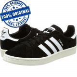 Pantofi sport Adidas Originals Campus pentru barbati - adidasi originali - piele, 42, 42 2/3, 43 1/3, 44, Negru, Piele intoarsa