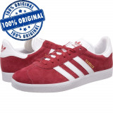 Pantofi sport Adidas Originals Gazelle pentru barbati - adidasi originali piele, 40 2/3, Rosu, Piele intoarsa