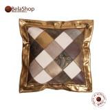 Perna din piele naturala Elegant Rombs Gold