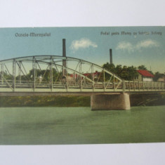 Carte postala Ocna Mures,podul peste Mures si fabrica de soda Solvay circ.1924, Circulata, Printata