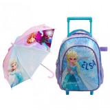 Troller ghiozdan Elsa Frozen pentru copii, 30 cm + Umbrela 57 cm
