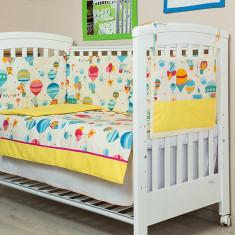 """Lenjerie patut bebe cu galben 5 piese """"Balonase"""" 70 x 140 cm, 140x70cm, KidsDecor"""
