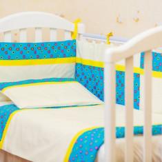 """Lenjerie patut bebe cu 3 piese """"Inimioare turcoaz"""" 60 x 120 cm, 120x60cm, Albastru, KidsDecor"""