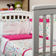 "Lenjerie patut bebe cu ciclam 3 piese ""Buline colorate"" 60 x 120 cm, 120x60cm, Roz, KidsDecor"