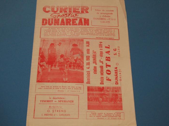 Program meci fotbal DUNAREA GALATI - SC BACAU (04.12.1983)