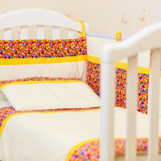 "Lenjerie patut bebe 4 piese ""Maruntei rosii"" 60 x 120 cm, 120x60cm, Multicolor, KidsDecor"