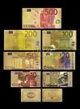 EUROPA - SET 7 BANCNOTE EURO COLOR POLYMER PLACAT CU AUR 24k