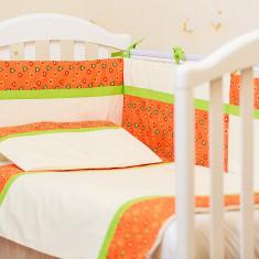 """Lenjerie patut bebe cu 3 piese """"Inimioare portocalii"""" 60 x 120cm, 120x60cm, Portocaliu, KidsDecor"""