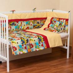 "Lenjerie patut bebe cu galben 3 piese ""Dinozauri"" 60 x 120 cm, 120x60cm, Multicolor, KidsDecor"