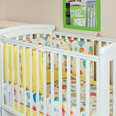 """Lenjerie patut bebe cu galben 3 piese """"Balonase"""" 60 x 120 cm, 120x60cm, KidsDecor"""