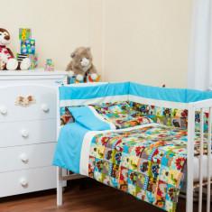 """Lenjerie patut bebe cu turcoaz 5 piese """"Dinozauri"""" 60 x 120 cm, 120x60cm, Multicolor, KidsDecor"""