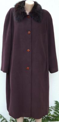 Palton Persona by Marina Rinaldi cu guler din blana naturala foto