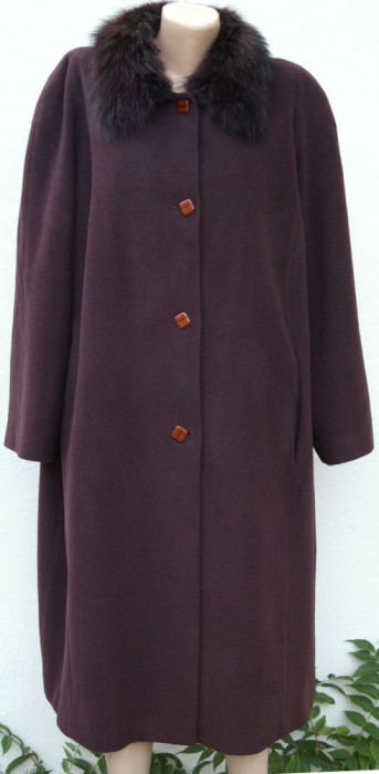 Palton Persona by Marina Rinaldi cu guler din blana naturala