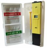 Tester pH cu ATC   2 x praf Calibrare   Surubelnita   Cutie