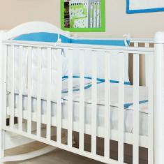 "Lenjerie patut bebe cu 3 piese ""Bulinute"" 60 x 120 cm, 120x60cm, Albastru, KidsDecor"