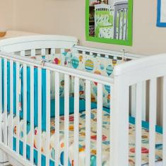 """Lenjerie patut bebe cu turcoaz 5 piese """"Balonase"""" 60 x 120 cm, 120x60cm, Albastru, KidsDecor"""