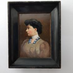 PORTRET DE DOMNISOARA-INCEPUT DE SECOL XX-ULEI PE CARTON NESEMNAT, Portrete, Realism