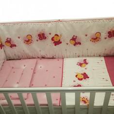 Lenjerie patut bebelusi cu 3 piese Baby Animals 60 x 120 cm, 120x60cm, Roz, KidsDecor