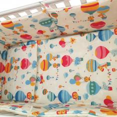 """Lenjerie patut bebe cu 5 piese """"Balonase"""" 70 x 140 cm, 140x70cm, Albastru, KidsDecor"""