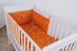 """Lenjerie patut bebelusi portocalie 3 piese """"Jocul Elefantilor"""" 60 x 120 cm, 120x60cm, Portocaliu, KidsDecor"""