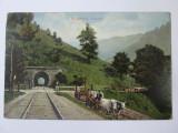 Carte postala Busteni-Tunelul feroviar,circulata 1915, Printata