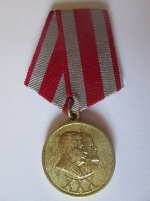 Medalia 30 ani de la infiintarea Armatei rosii sovietice 1918-1948 Stalin/Lenin foto