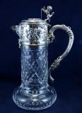Carafa Argint 925 Cu Cristal An 1900 Deosebita, Pocal