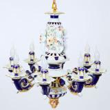 CANDELABRU VENETIAN DIN PORTELAN COBALT Porzellan-Deckenlampe-co, Lustre