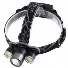 Lanterna De Cap Cree XML-T6 + 2x COB Frontala Zoom + 2x Acumulatori 18650 C205