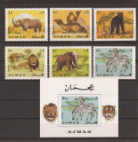 AJMAN 1969 FAUNA AFRICA(serie dantelata+colita nedantelata) MNH