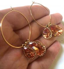 STOC LIMITAT-Cercei lungi/rotunzi eleganti-aur filat 18k si cristale SWAROVSKI foto