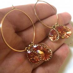 STOC LIMITAT-Cercei lungi/rotunzi eleganti-aur filat 18k si cristale SWAROVSKI