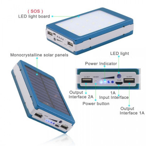 Baterie externa - Power Bank 20000 mah - incarcare solara + lanterna 20 Led C187
