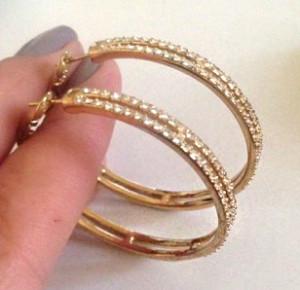 OFERTA-Cercei rotunzi cristale swarovski gama GUESS placati cu aur galben 18k