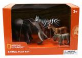 Set 4 figurine - Mamut, Rinocer, Zebra, Antilopa, National Geographic
