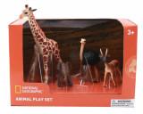 Set 4 figurine - Girafa, Elefantel, Strut si Antilopa, National Geographic