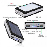 Baterie externa - Power Bank 20000 mah - incarcare solara + lanterna 20 Led C187