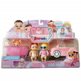 Set de Joaca Baby Secrets cu Cadita, Masinuta si 3 Figurine Bebelus