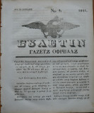 Ziarul Buletin , gazeta oficiala a Principatului Valahiei , nr. 4 , 1841
