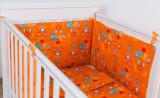 """Protectie jumatate patut bebe 60 x 120 cm portocalie """"Jocul Elefantilor"""""""