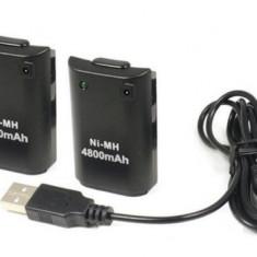 Set 2 acumulatori 4800 mah - cablu inc Controller Xbox 360 - Negru - ID3 60204, Cabluri