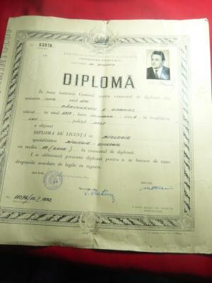 Diploma de Licenta in Biologie- Zoologie ,timbru sec 1971Universitatea Bucuresti foto