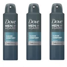 Set 3 x Deodorant Antiperspirant Spray 48h, Dove Men+Care, Clean Comfort, 150 ml
