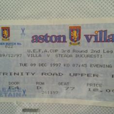 Bilet fotbal Aston Villa - Steaua 1997