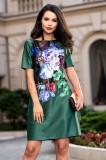 Rochie din tafta verde cu imprimeu tip pictura