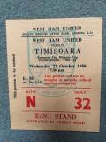 Bilet fotbal West Ham - Timisoara 1980